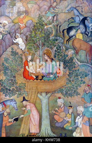Painting depicting Alexander the Great seated in a tree-platform taking a golden cup from a scholar kneeling beside - Stock Photo