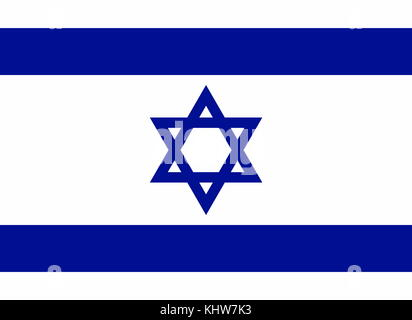 Illustration depicting the National Flag of Israel. Dated 20th Century - Stock Photo