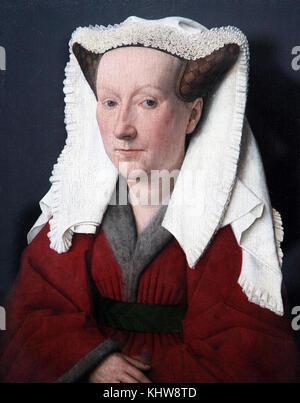 Portrait of Margareta van Eyck 1439 by Jan van Eyck 1390 – 1441.A Flemish painter active in Bruges. - Stock Photo