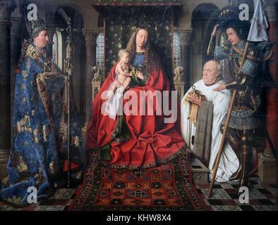 Madonna with Canon Joris van der Paele 1436 by Jan van Eyck 1390 – 1441.A Flemish painter active in Bruges. - Stock Photo
