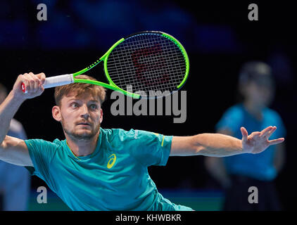 London, UK. 19th Nov, 2017. ATP Tennis, London, November 19, 2017 David GOFFIN, BEL, in Action David GOFFIN, BEL - Stock Photo