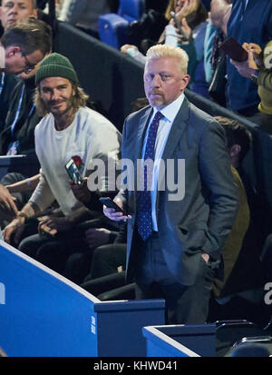 London, UK. 19th Nov, 2017. ATP Tennis, London, November 19, 2017 David BECKHAM and Boris BECKER David GOFFIN, BEL - Stock Photo