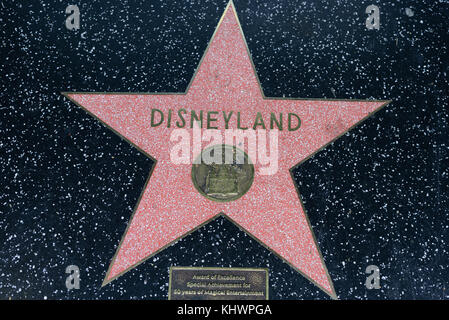 HOLLYWOOD, CA - DECEMBER 06: Disneyland star on the Hollywood Walk of Fame in Hollywood, California on Dec. 6, 2016. - Stock Photo