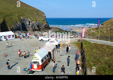 the beach and car park at chapel porth neat st.agnes in cornwall, england, uk. - Stock Photo
