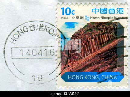 GOMEL, BELARUS, 19 NOVEMBER 2017, Stamp printed in HONG KONG, China shows image of the North Ninepin Island, circa - Stock Photo