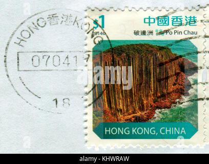 GOMEL, BELARUS, 19 NOVEMBER 2017, Stamp printed in HONG KONG, China shows image of the Po Pin Chau, circa 2014. - Stock Photo