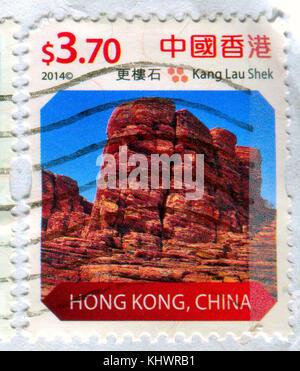 GOMEL, BELARUS, 19 NOVEMBER 2017, Stamp printed in HONG KONG, China shows image of the Kang Lau Shek, circa 2014. - Stock Photo