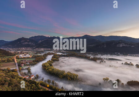 On the banks of the river Adda ,Airuno, province of Lecco, Italy - Stock Photo