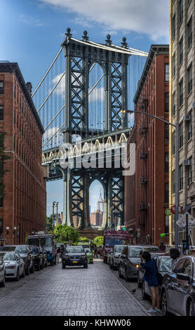 New York, NY, USA - July 15, 2017. Brooklyn Bridge view from Washington Street in Brooklyn - Stock Photo