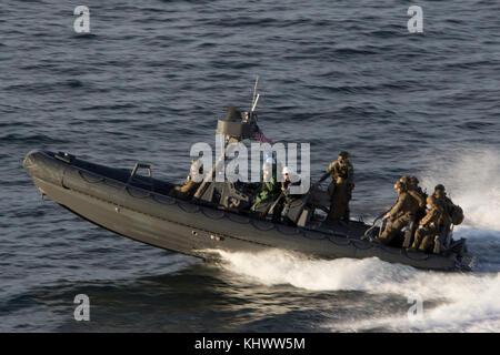 U.S. Marines with the Maritime Raid Force (MRF), 26th Marine Expeditionary Unit (MEU), return from the Training - Stock Photo