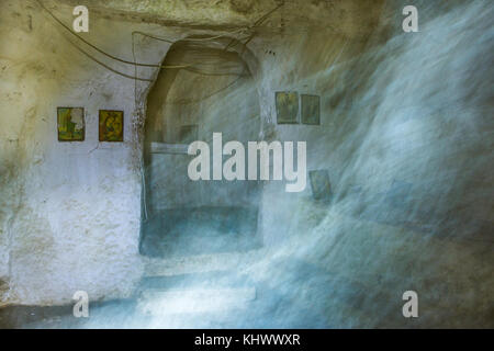 Ancient church dedicated to the angel Gabriel which is constructed in a cave under Aggelokastro (Angel`s castle)in - Stock Photo