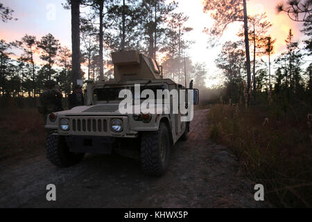 Marines with 2nd Air Naval Gunfire Liaison Company, II Marine Expeditionary Force conduct a convoy operation at - Stock Photo