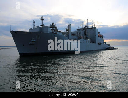 NORFOLK, Va. (Nov. 14, 2017) The Lewis and Clark-class dry cargo and ammunition ship USNS Medgar Evers (T-AKE 13) - Stock Photo