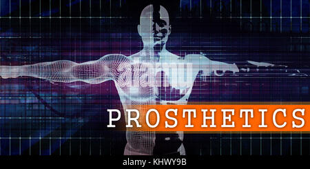 Prosthetics Medical Industry with Human Body Scan Concept - Stock Photo