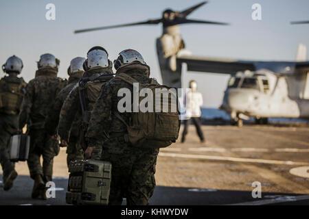 U.S. Marines with Fox Company, Battalion Landing Team, 2nd Battalion, 6th Marine Regiment, 26th Marine Expeditionary - Stock Photo