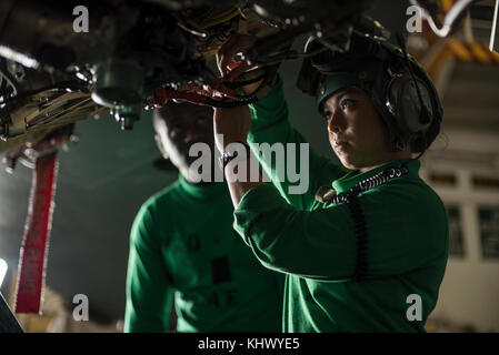 PHILIPPINE SEA (Nov. 16, 2017) Aviation Electrician's Mate Airman Ruby Barredo inspects wiring on an EA-18G Growler - Stock Photo