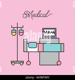 medical bed and iv stand bag monitoring machine hospital - Stock Photo