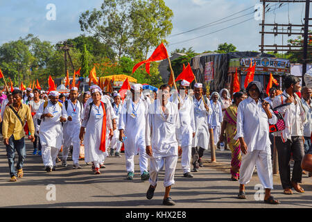 Pilgrims walking, Pandharpur wari yatra 2017, Pune , Maharashtra, India - Stock Photo