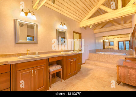 Large Bright Family Room With Vaulted Ceiling And Overlooking Stock Photo Royalty Free Image