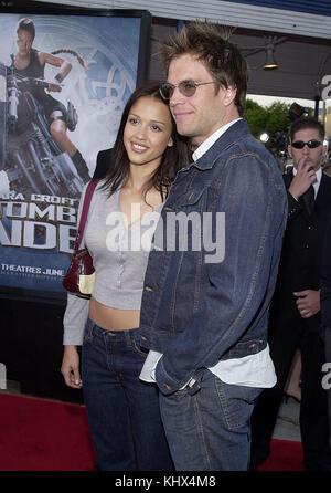 Jessica Alba and boyfriend Michael Weatherly - Dark Angel -  arriving at the Lara Croft: Tomb Raider premiere at - Stock Photo