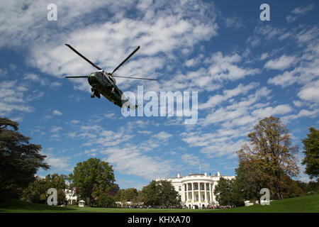 Marine One, carrying President Donald J. Trump, lifts-off from the South Lawn at White House, Wednesday, October - Stock Photo