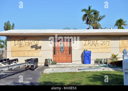FORT LAUDERDALE, FL - SEPTEMBER 15:  Florida residents still without electric. Millions are still without power - Stock Photo