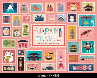 Japan Travel concept stamp, lovely japanese traditional symbols in stamp form, colorful flat design - Stock Photo