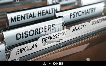 Mental health concept. File with a list of psychiatric disorders. 3D illustration - Stock Photo
