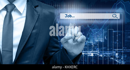 Businessman touching the virtual searching bar with 'Job' on the trading graph over the cityscape blurred background, - Stock Photo