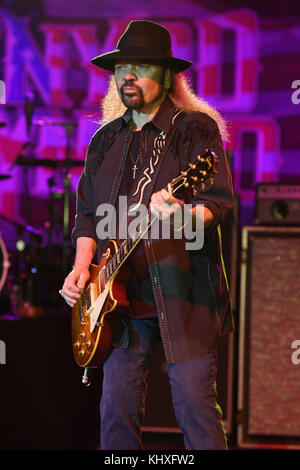 POMPANO BEACH FL - FEBRUARY 10: Gary Rossington of Lynyrd Skynyrd performs at The Pompano Beach Amphitheater on - Stock Photo