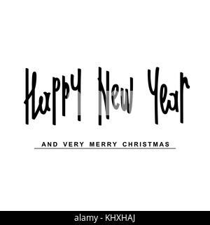 Happy New Year and Veru Merry Christmas. Handwritten calligraphy composition. Vector design elements - Stock Photo