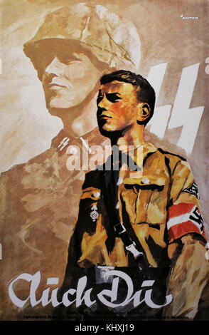 German propaganda poster to encourage young people to do military service in the Wehrmacht army. It was also addressed - Stock Photo