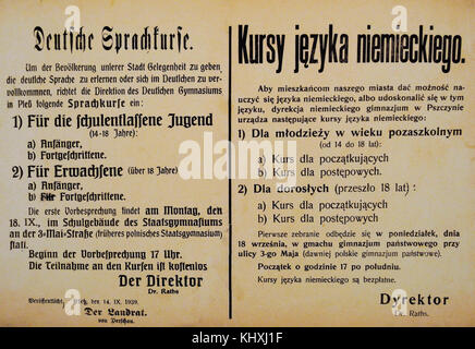 History of Poland. 20th century. Although the German authorities spread the idea that the majority of the inhabitants - Stock Photo