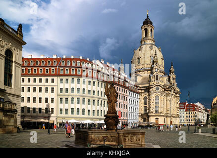 Europe, Germany, Saxony, Dresden, The old Town, the new market square, the church of Our Lady - Stock Photo