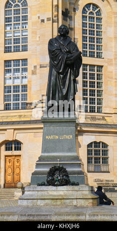 Europe, Germany, Saxony, Dresden, The old Town, the new market square, Statue Of Martin Luther In Front Of Church - Stock Photo