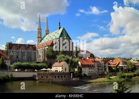 Europe, Germany, Saxony, Görlitz, The old town, , St Peter church - Stock Photo