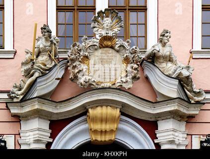 Europe, Germany, Saxony, Görlitz, The old town, The Unter Markt square; Portal - Stock Photo