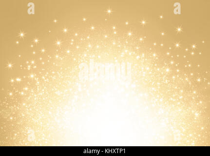Bright stars and glitters exploding on a shiny gold background - Festive material - Stock Photo