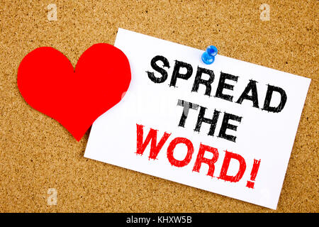 Conceptual hand writing text caption inspiration showing Spread The Word concept for Announcement Business Marketing - Stock Photo