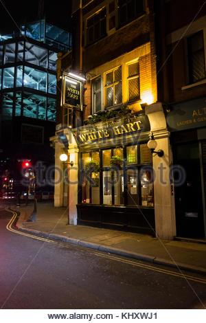 The White Hart public house on Drury Lane, Covent Garden, London, WC2 - Stock Photo