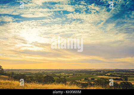 Barossa valley viewed from Mengler Hill Lookout, South Australia - Stock Photo