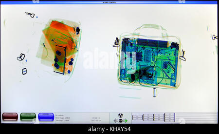 screenshot from an airport x-ray luggage security scanner - Stock Photo
