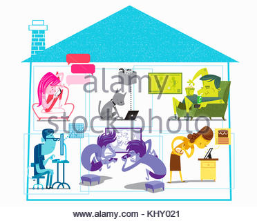 Cross section of house with family using various computer technology devices - Stock Photo