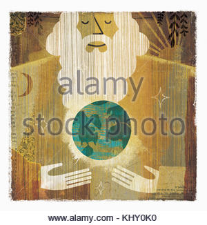 God holding the world in hands - Stock Photo