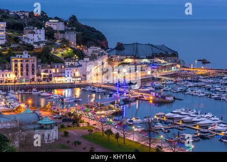 Torquay Harbour By Night - Stock Photo