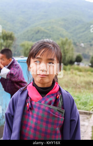 Bumthang, Bhutan - September 14, 2016: Students at Wangdicholing Lower Secondary School in Jakar, Bumthang, Bhutan. - Stock Photo