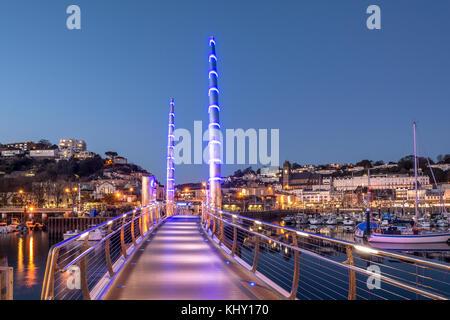 Torquay Harbour Bridge By Night - Stock Photo