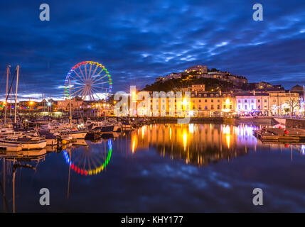 Torquay Harbour taken at twilight on a warm May evening. - Stock Photo