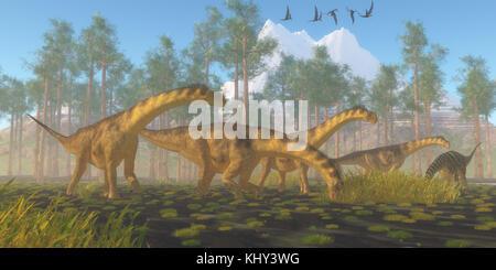 Camarasaurus Dinosaur Herd - A flock of Dorygnathus reptiles fly over a herd of Camarasaurus dinosaurs busy eating - Stock Photo