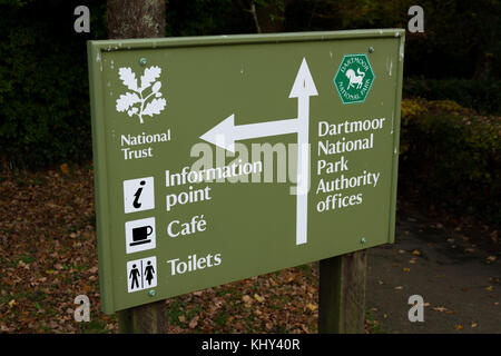 Entrance sign in the car park of Parke House in Bovey Tracey, Devon, England, UK. - Stock Photo